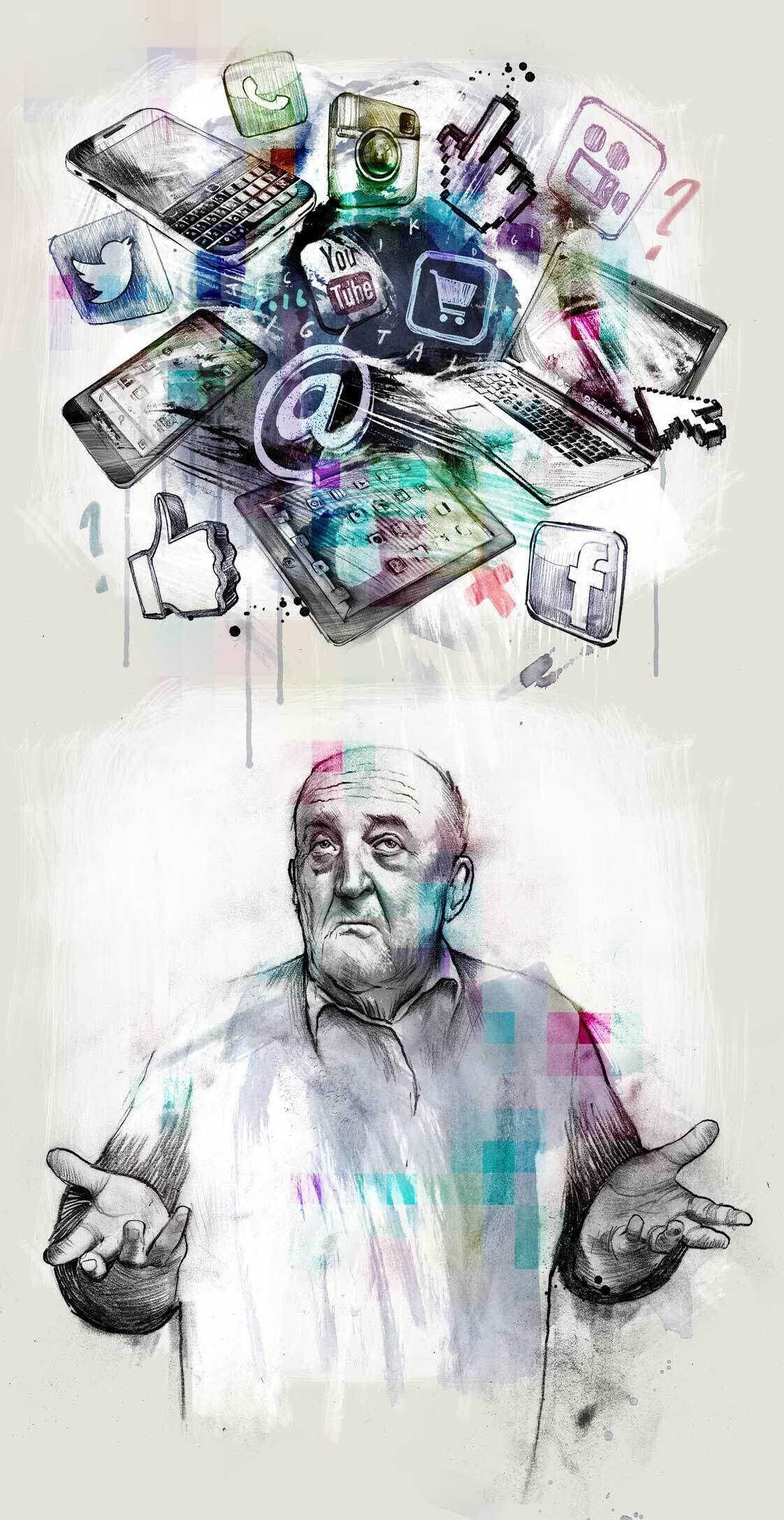 Technology age old man social media youtube smartphone facebook intagram twitter editorial illustration artwork - Kornel Illustration | Kornel Stadler portfolio