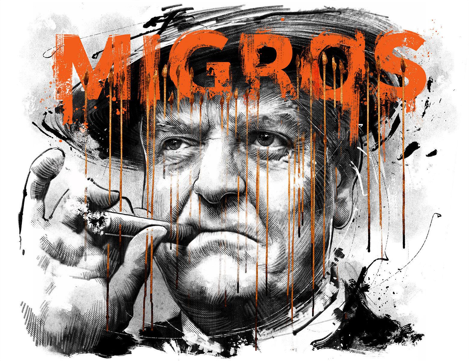 Migros tabak alkohol gttlieb duttweiler portrait ilustration editorial - Kornel Illustration   Kornel Stadler portfolio