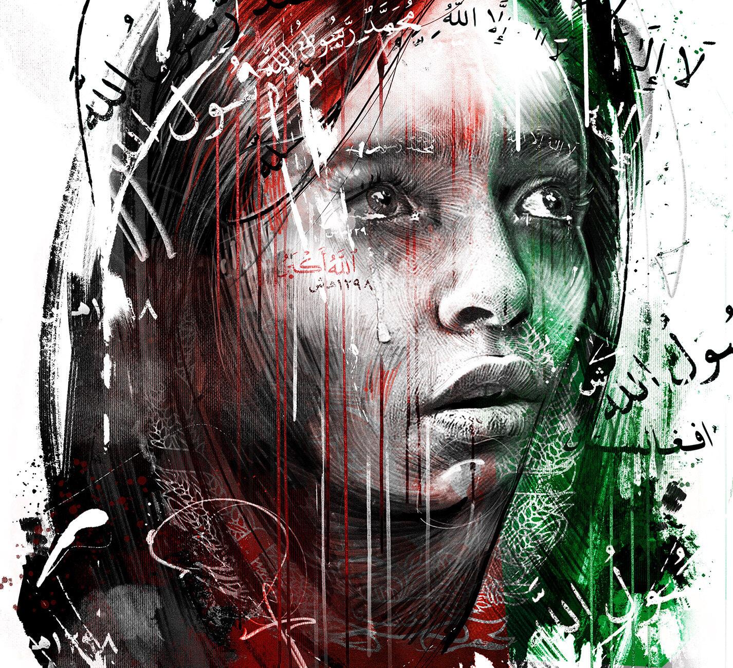 Afghanistan woman women human rights editorial illustration portrait conceptual - Kornel Illustration   Kornel Stadler portfolio