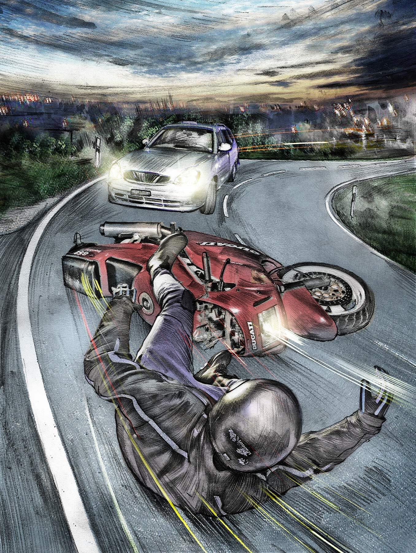 Moterbike frontal accident street ducati illustration - Kornel Illustration | Kornel Stadler portfolio
