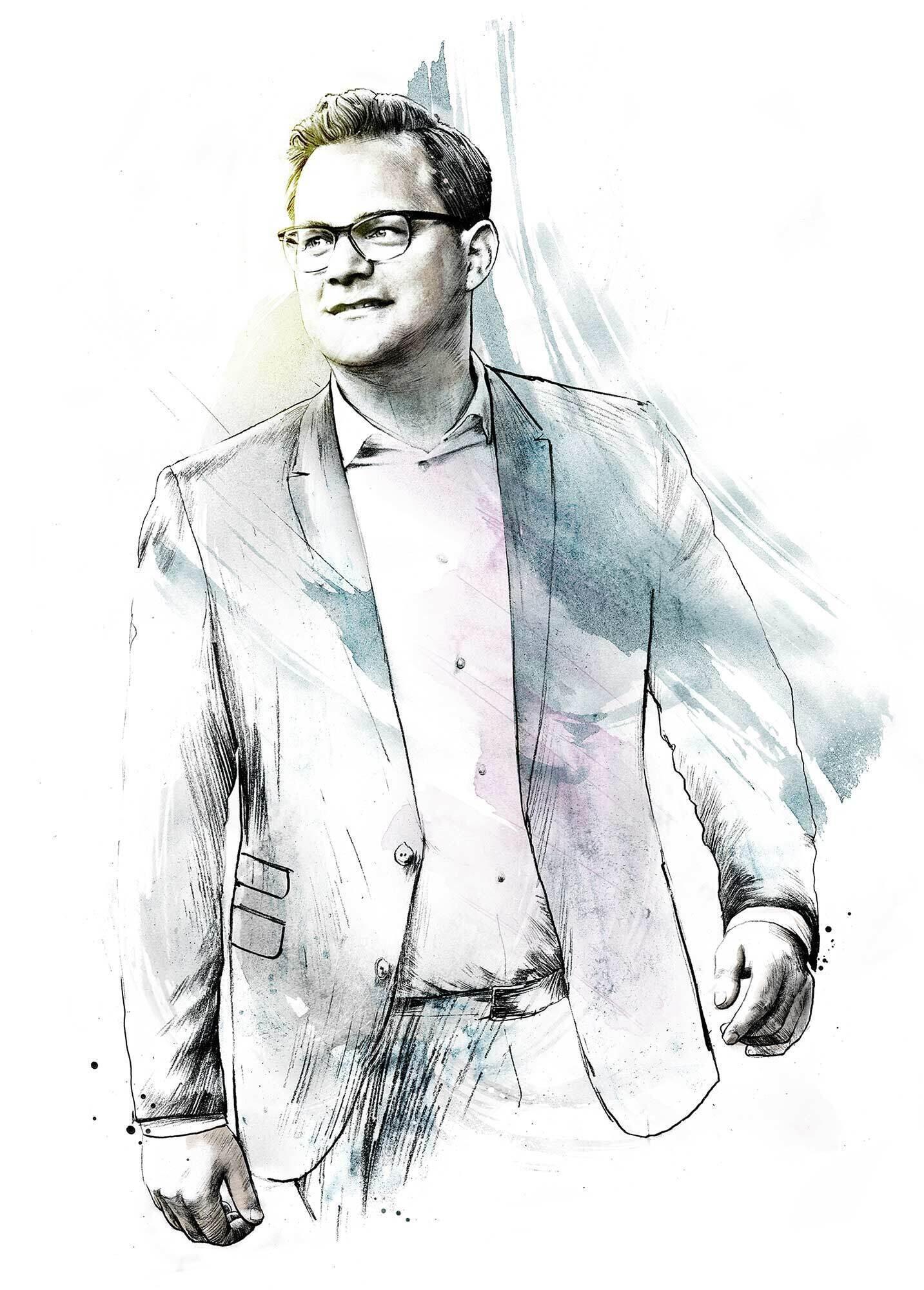Editorial portrait illustration autor - Kornel Illustration | Kornel Stadler portfolio