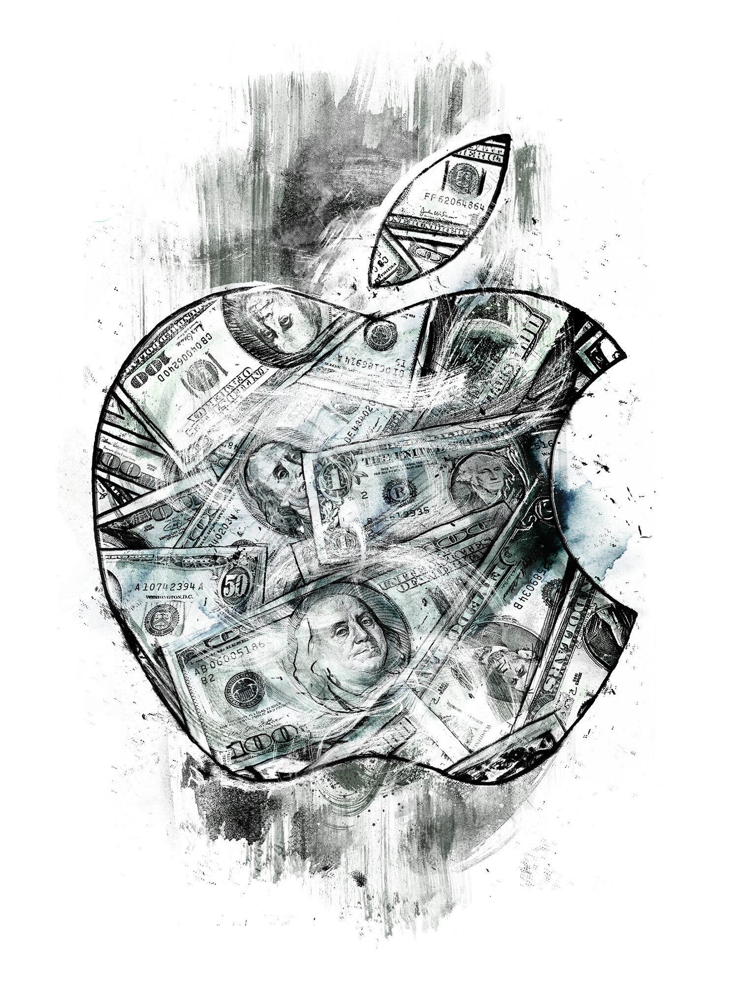 Apple dollar money illustration - Kornel Illustration | Kornel Stadler portfolio
