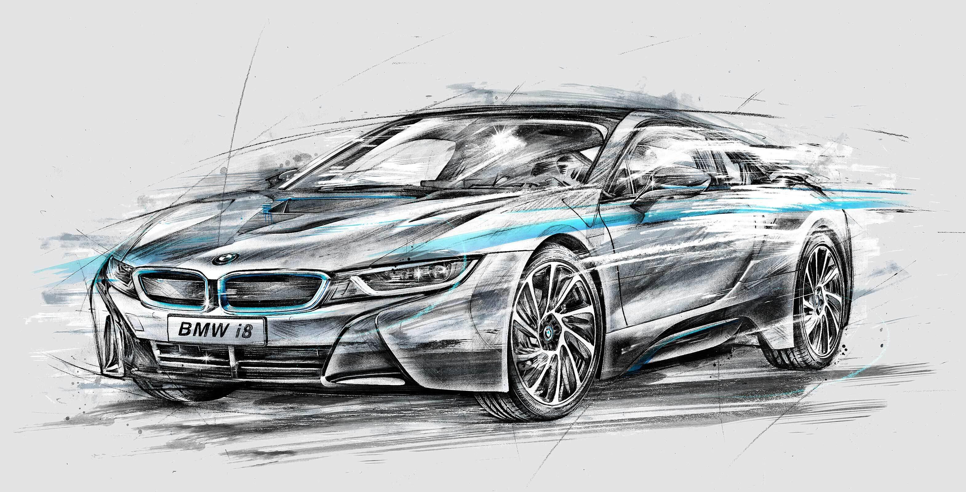 BMW i8 RGB car design illustration sketch concept drawing - Kornel Illustration | Kornel Stadler portfolio