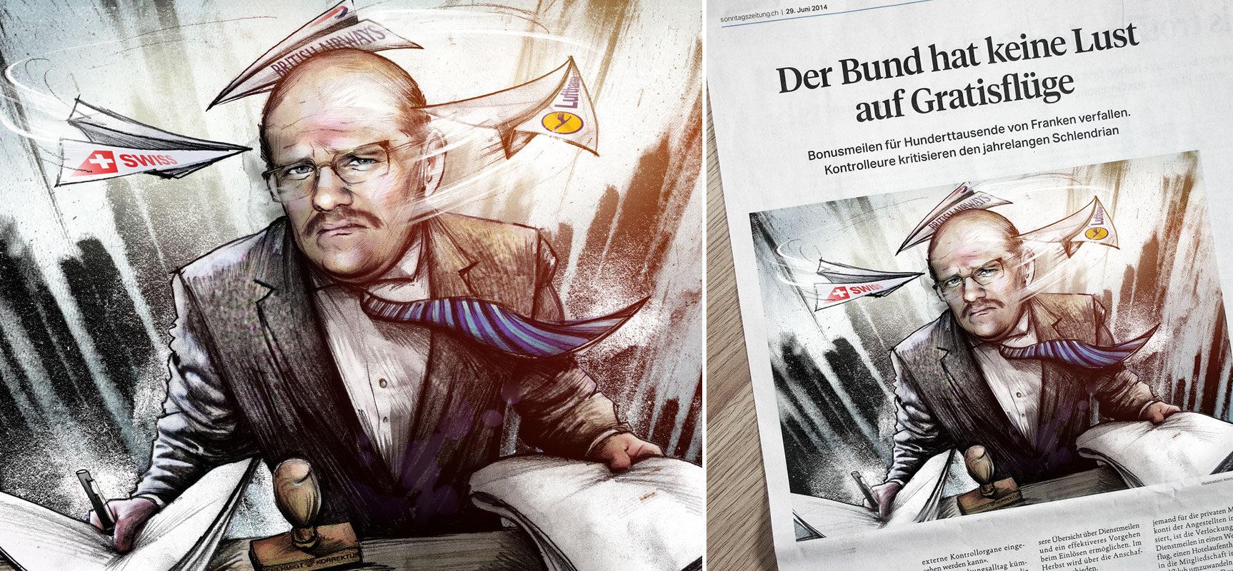 Flugmeilen web - Kornel Illustration | Kornel Stadler portfolio