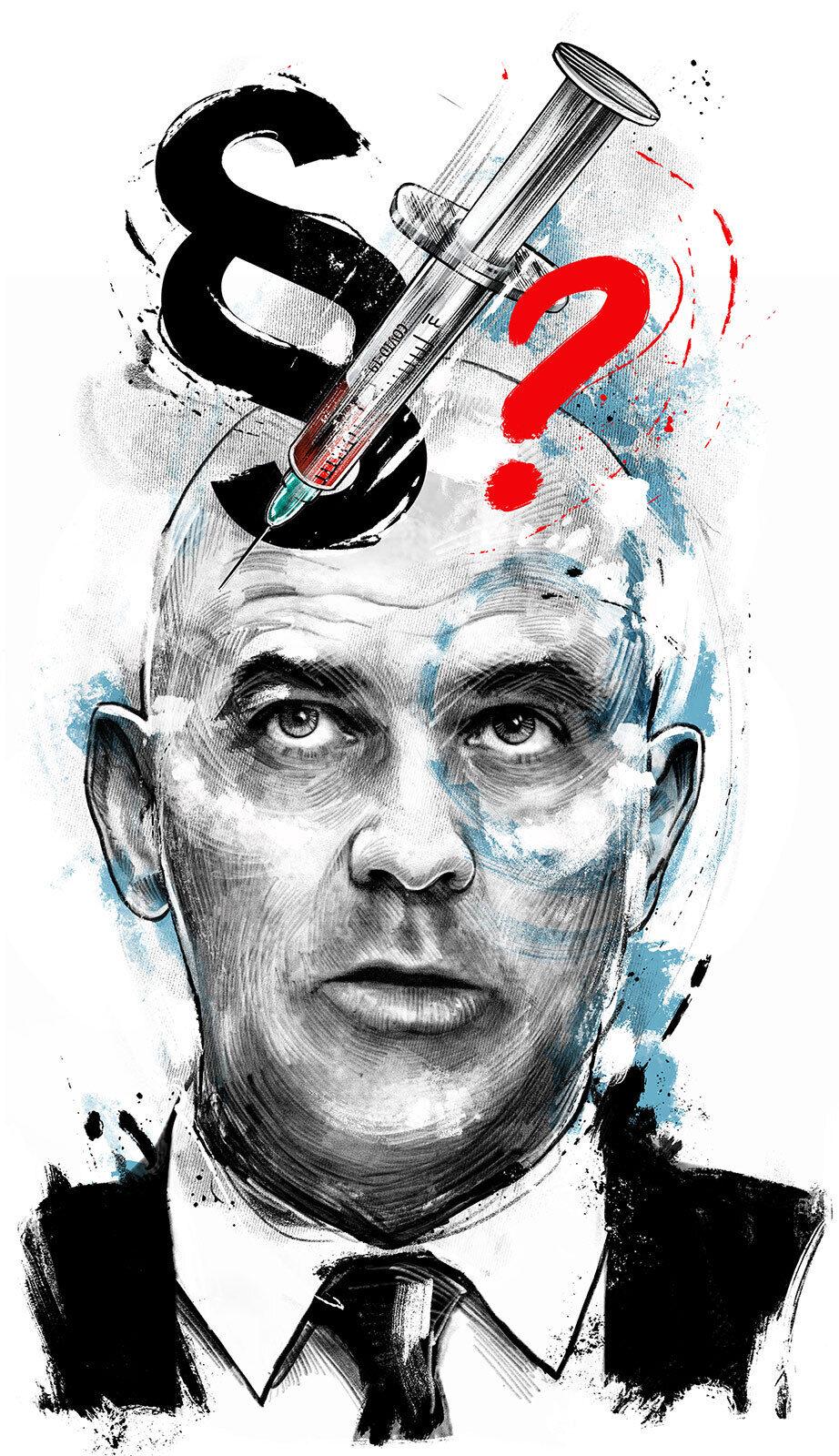 Alain berset bundesrat impfpflicht corona politik portrait llustration - Kornel Illustration   Kornel Stadler portfolio
