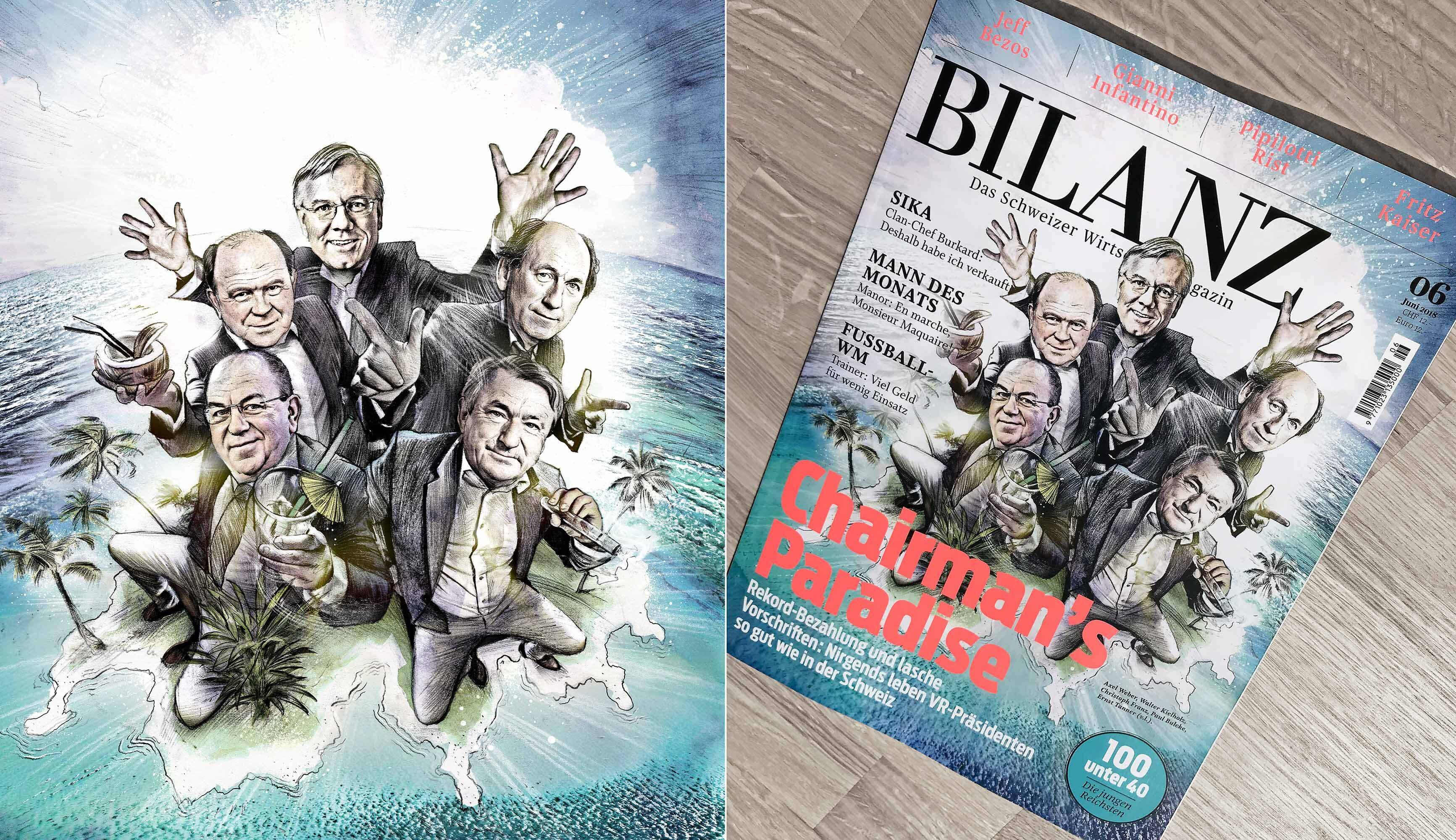 Bilanz cover illustration magazine manager caricature - Kornel Illustration | Kornel Stadler portfolio