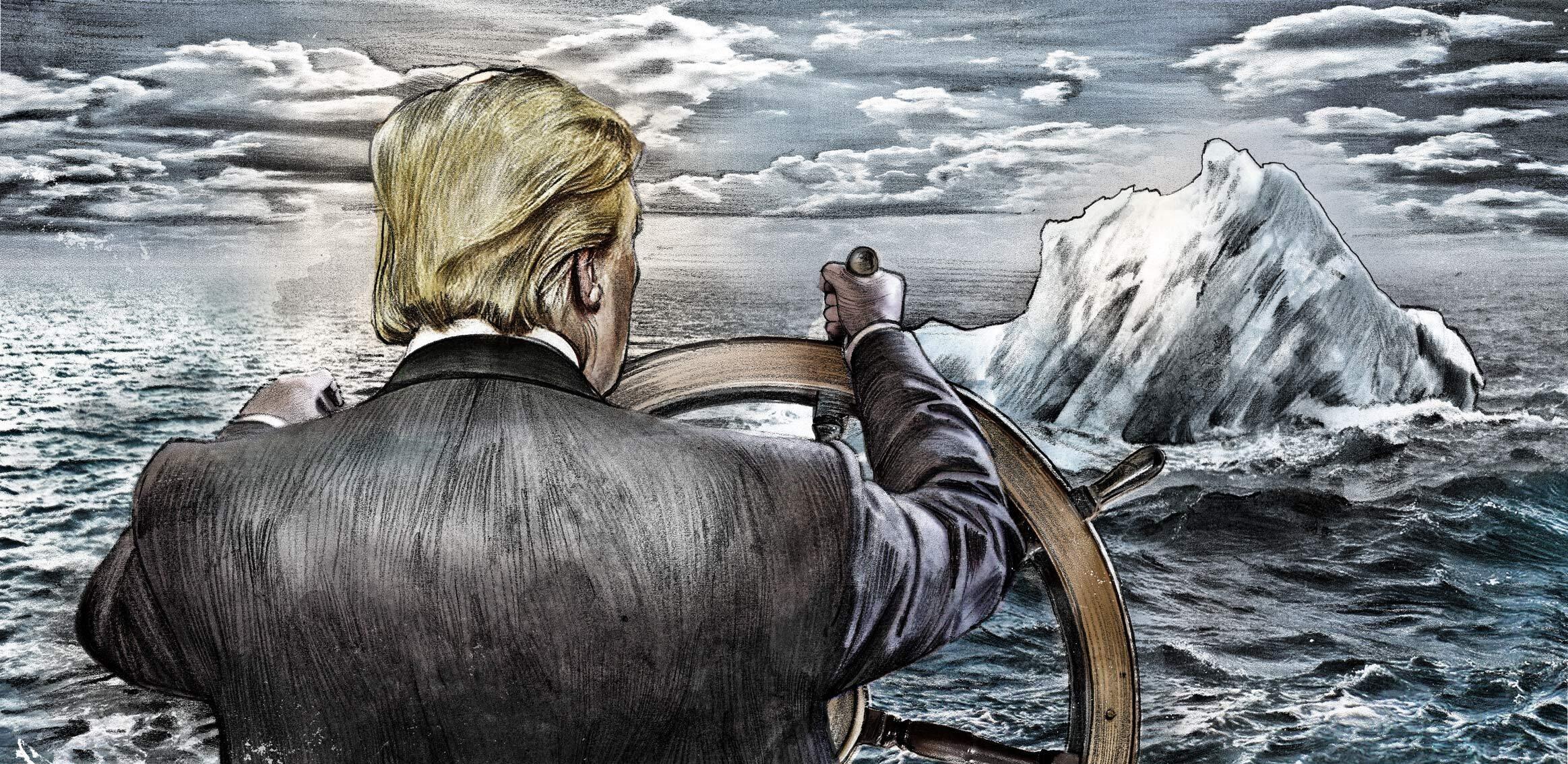 Trump Titanic iceberg steering whell - Kornel Illustration | Kornel Stadler portfolio