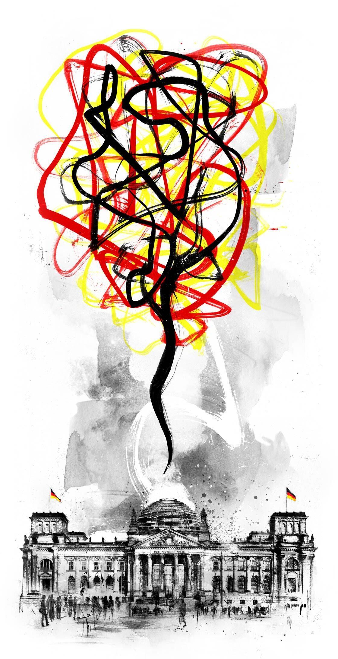 Chaos Berlin Reichstag illustration - Kornel Illustration | Kornel Stadler portfolio