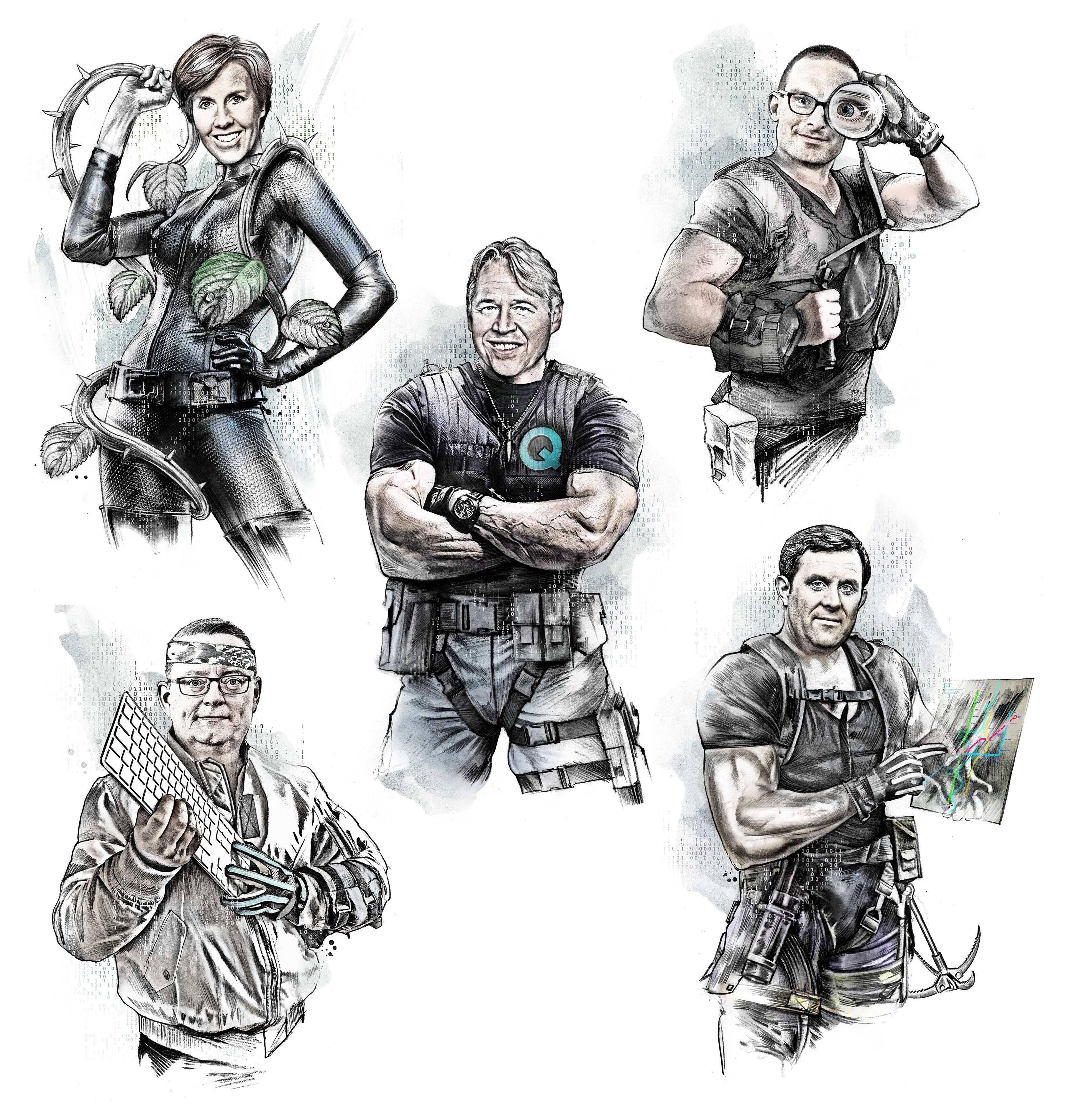 Zusammenstellung figuren q team - Kornel Illustration   Kornel Stadler portfolio