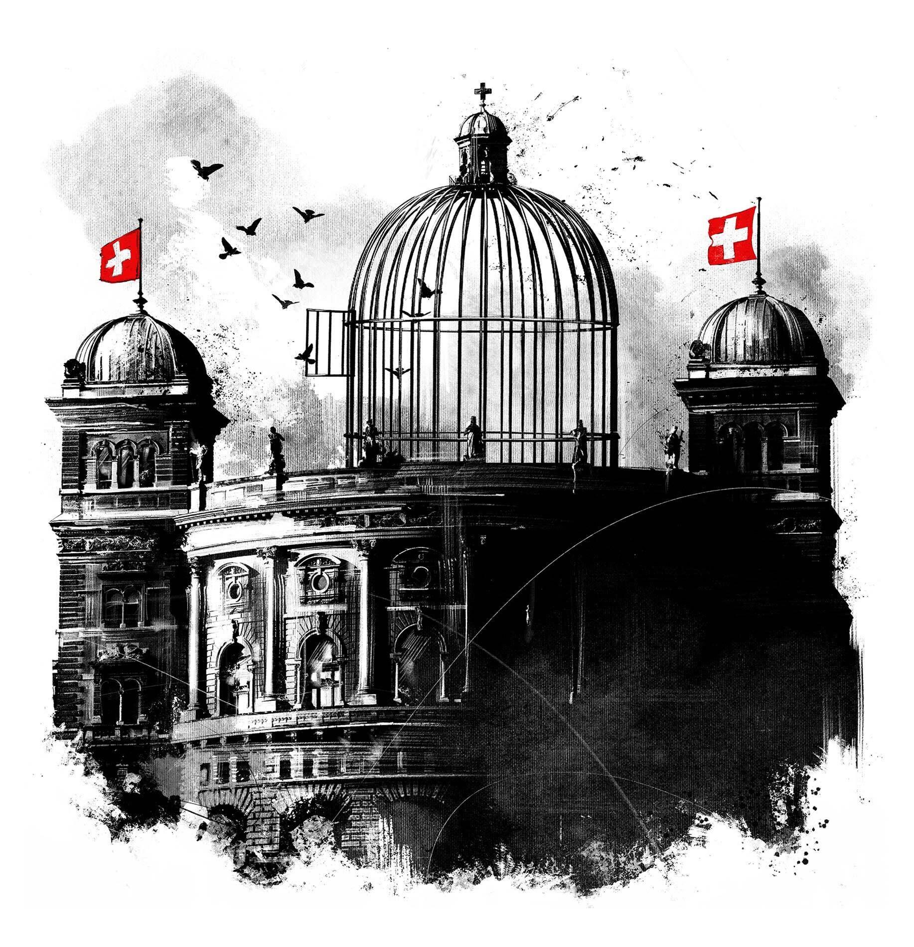 Bundeshaus Bundesrat Schweizer Regierung Voegel Vogelkaefig Irrenhaus Editorial Illustration - Kornel Illustration | Kornel Stadler portfolio