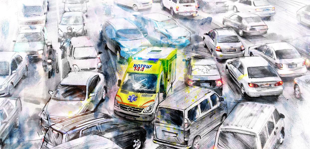 Ambulanz Stau - Kornel Illustration | Kornel Stadler portfolio
