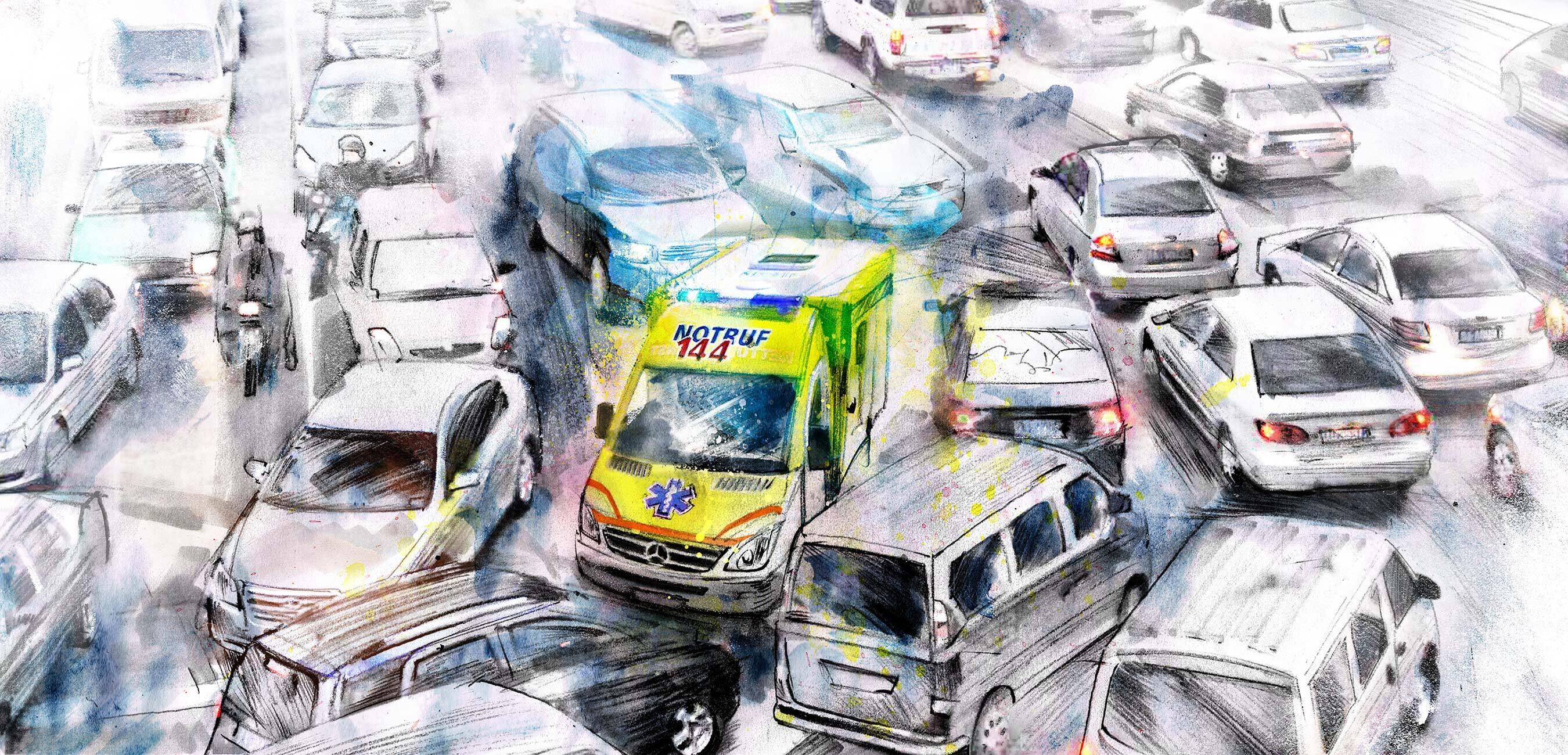 Ambulanz stau rettungsgasse verkehr illustration - Kornel Illustration | Kornel Stadler portfolio