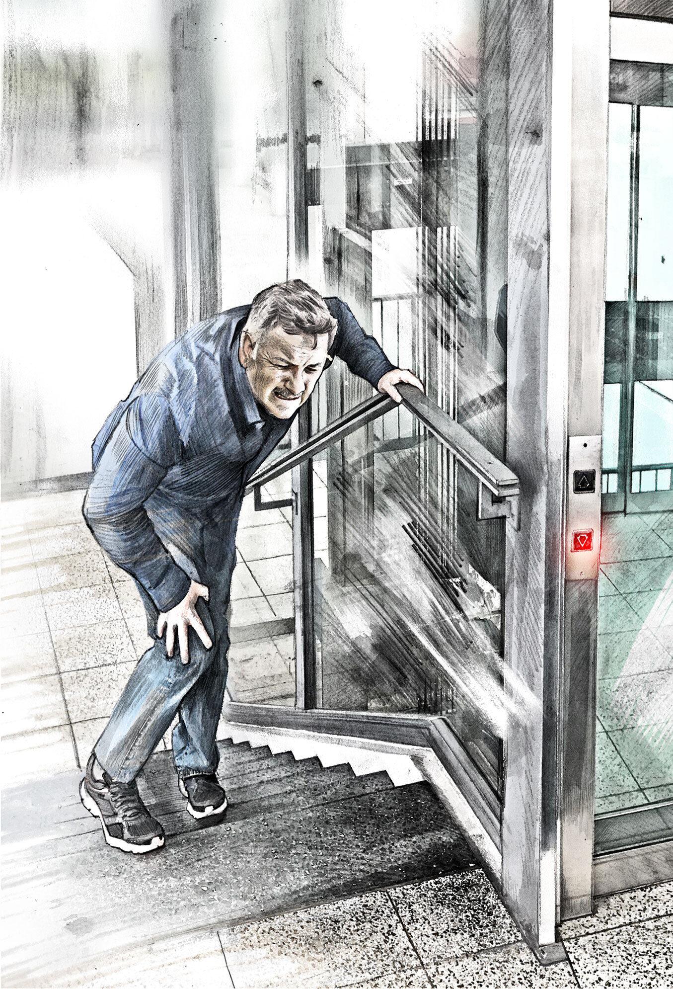 Illustration stairs pain - Kornel Illustration   Kornel Stadler portfolio