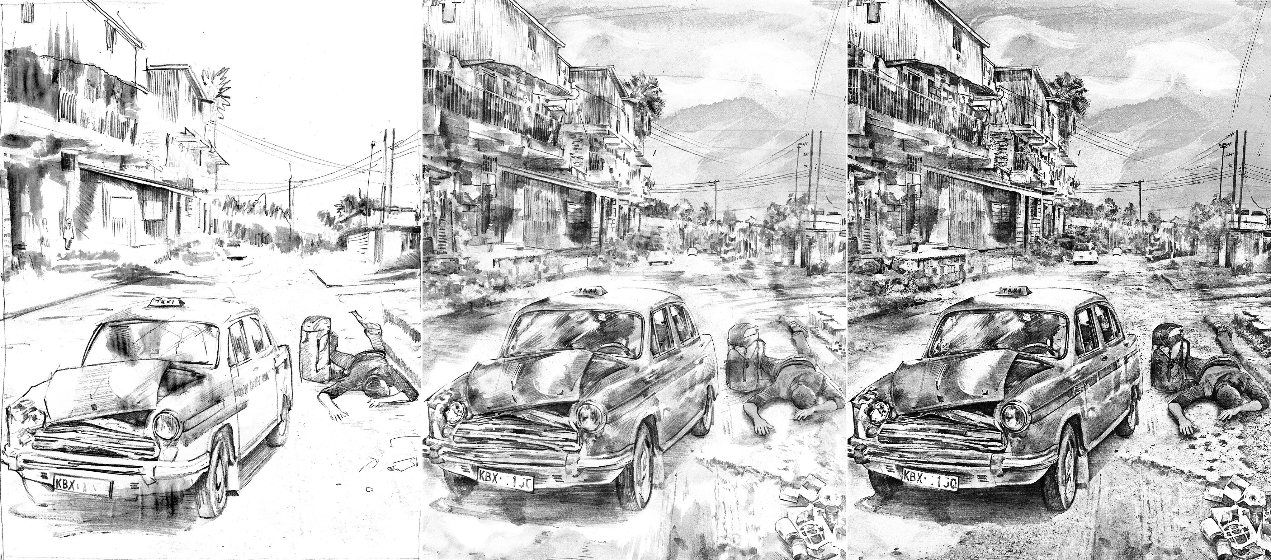 Skizze illustration strasse - Kornel Illustration | Kornel Stadler portfolio