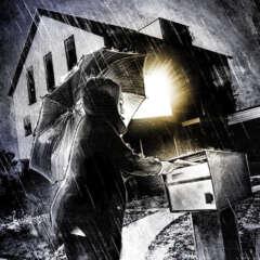 Work Dark regenschirm illustration house light rain night briefkasten licht haus nacht Kornel Illustration | Kornel Stadler