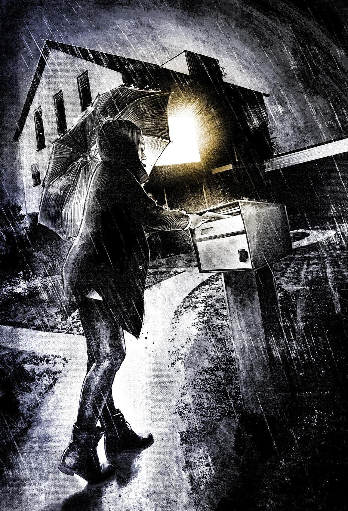 Dark regenschirm illustration house light rain night briefkasten licht haus nacht - Kornel Illustration | Kornel Stadler portfolio