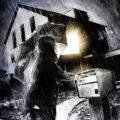 Client Arbeit Dark regenschirm illustration house light rain night briefkasten licht haus nacht Kornel Illustration | Kornel Stadler