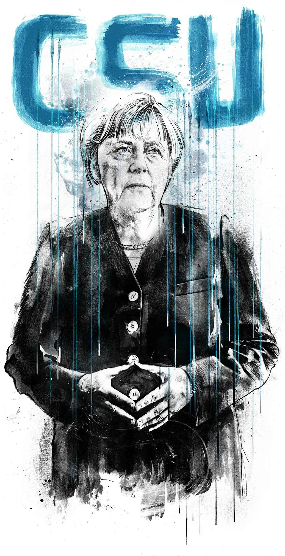 Angela Merkel CSU Editorial Illustration - Kornel Illustration | Kornel Stadler portfolio