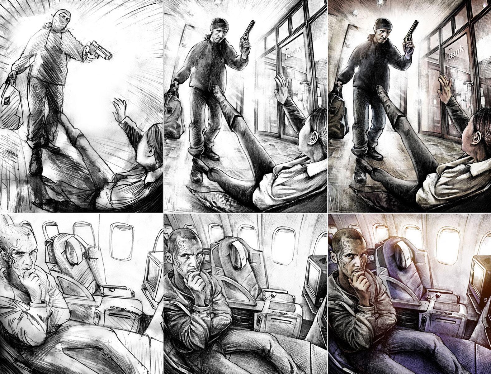Bankraub Skizzen - Kornel Illustration | Kornel Stadler portfolio