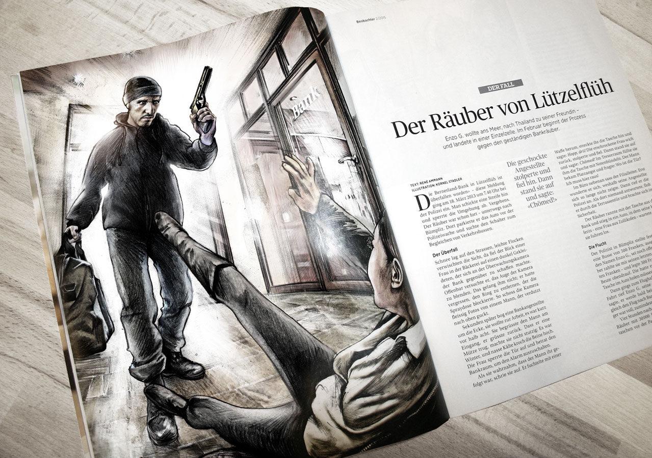 Bankraub Beobachter - Kornel Illustration | Kornel Stadler portfolio