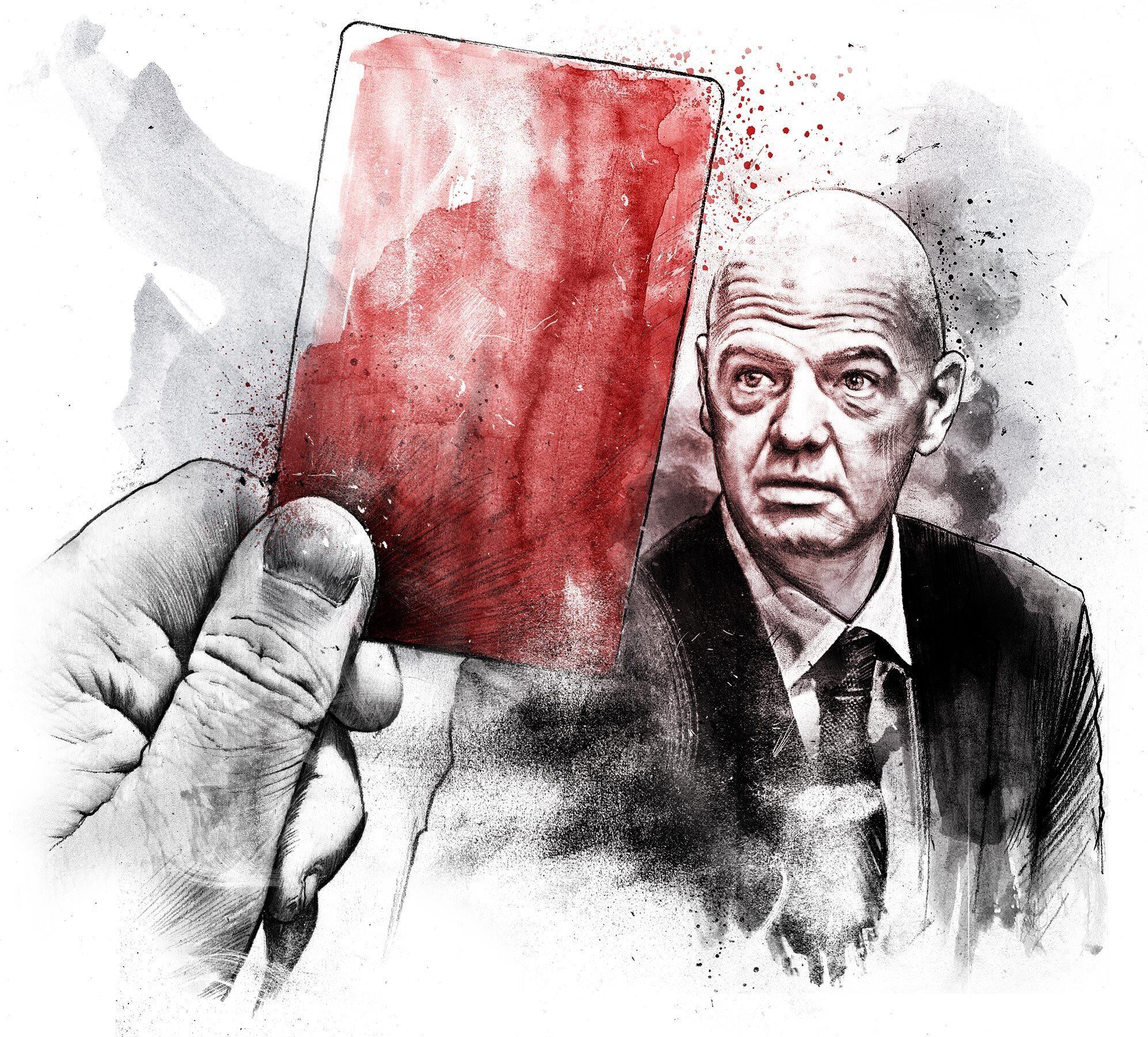 Gianni Infantino red card illustration - Kornel Illustration | Kornel Stadler portfolio