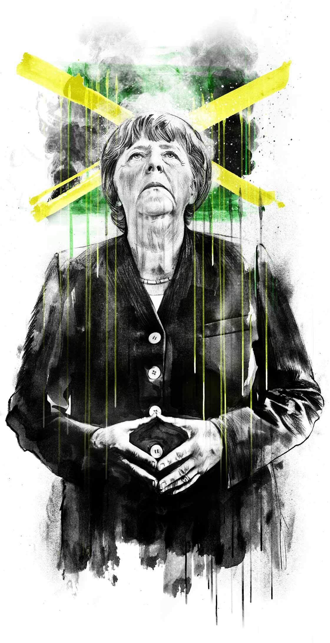 Merkel Jamaika Koalition Illustration Editorial Portrait - Kornel Illustration | Kornel Stadler portfolio