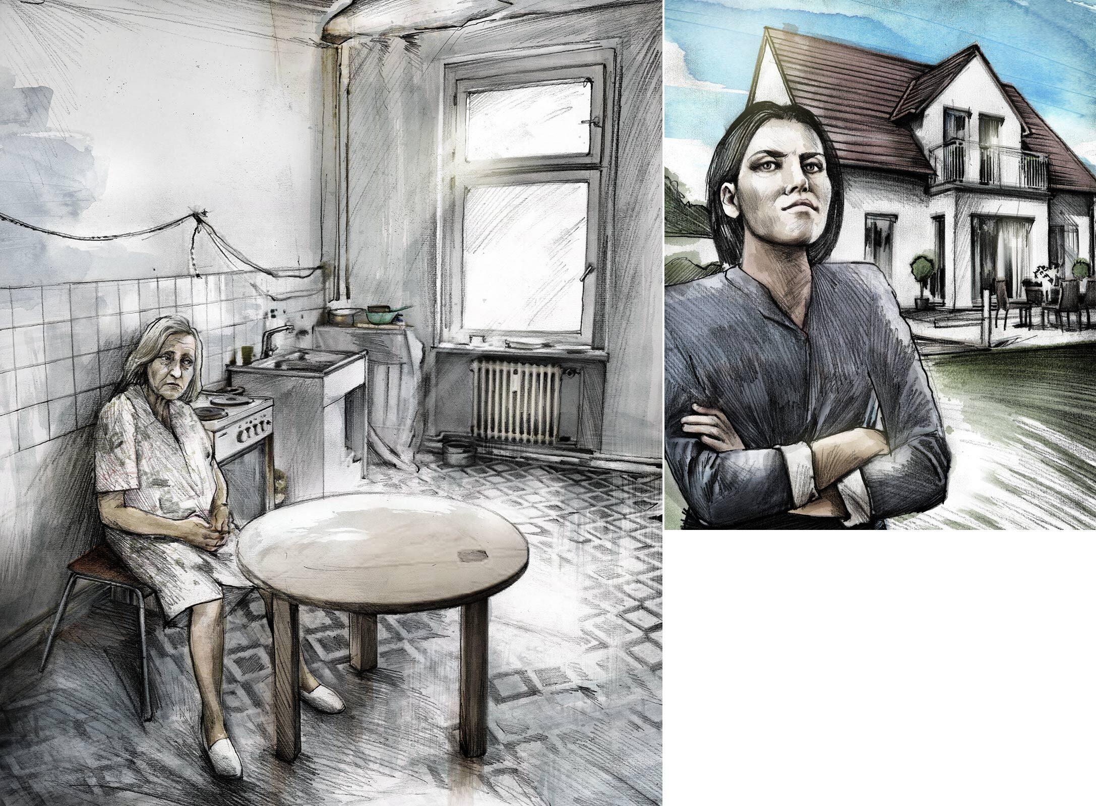 Illustration Beobachter Mutter Tochter - Kornel Illustration   Kornel Stadler portfolio