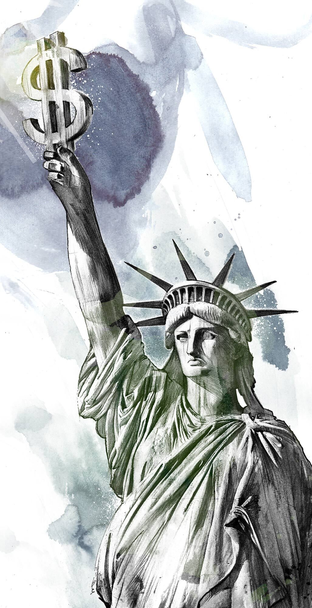 Dollar statue of liberty money - Kornel Illustration | Kornel Stadler portfolio
