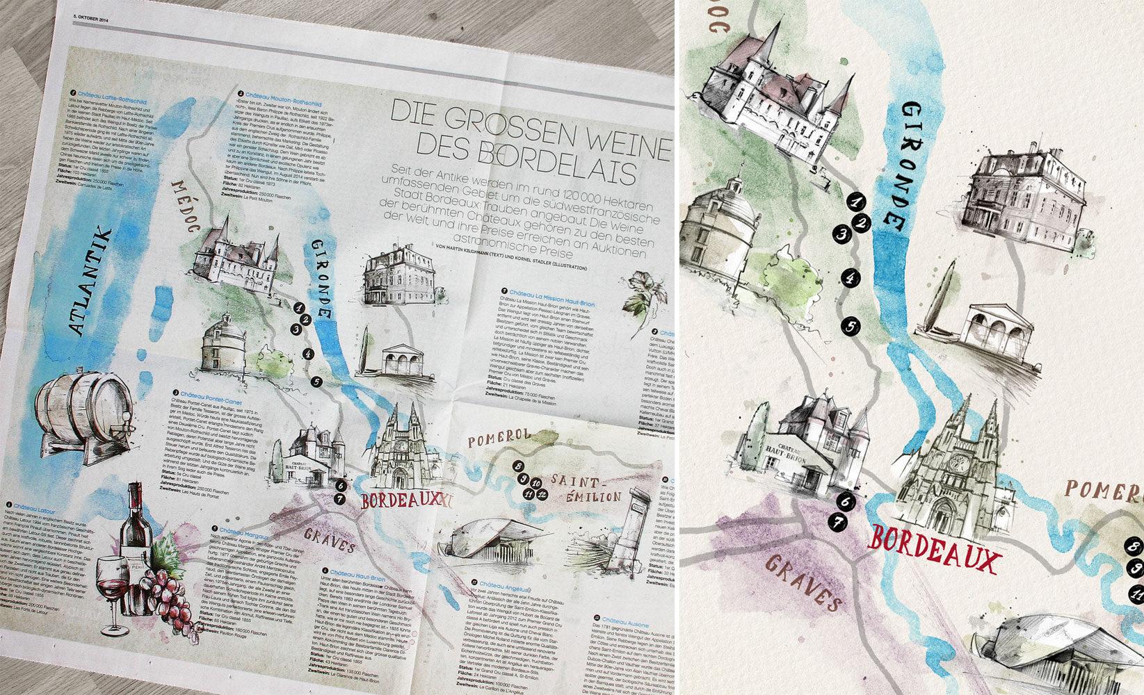 Weinkarte Bordeaux - Kornel Illustration | Kornel Stadler portfolio