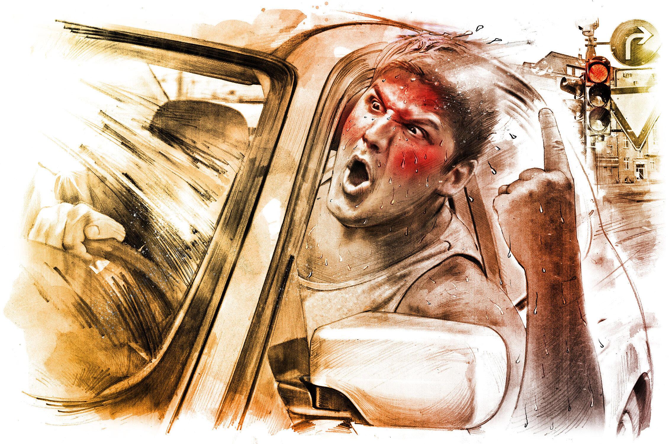 Heat agression traffic - Kornel Illustration | Kornel Stadler portfolio