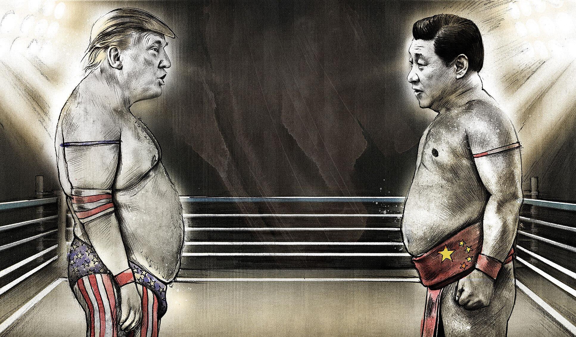 Trump vs xi jinping wrestling - Kornel Illustration | Kornel Stadler portfolio