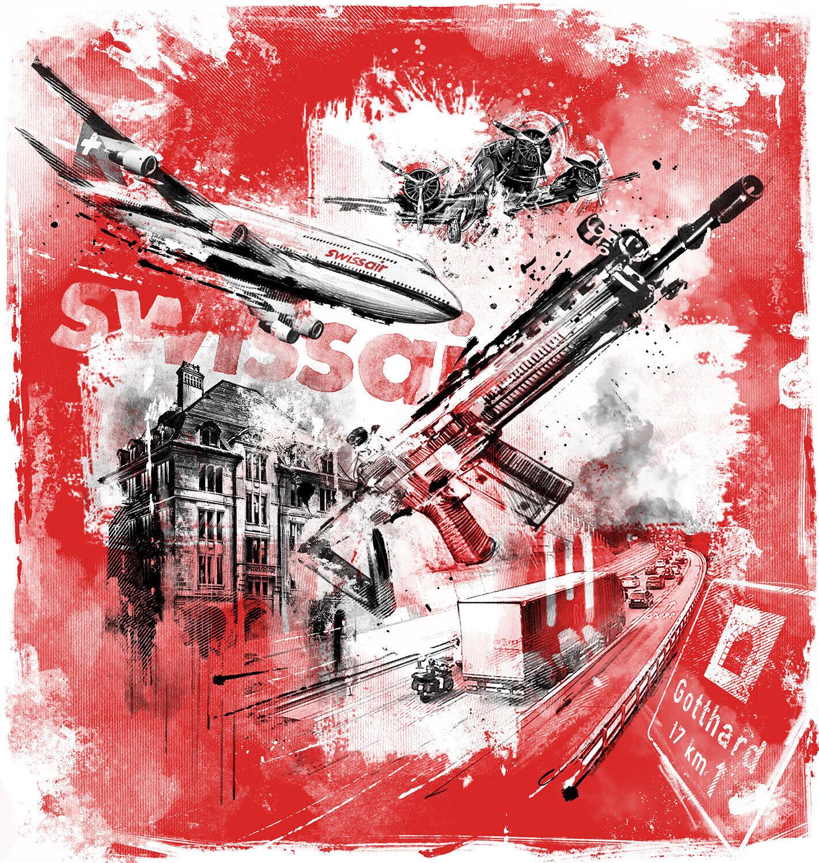 Schweiz terror tschanun gotthard swissair grounding editorial illustrastion - Kornel Illustration   Kornel Stadler portfolio
