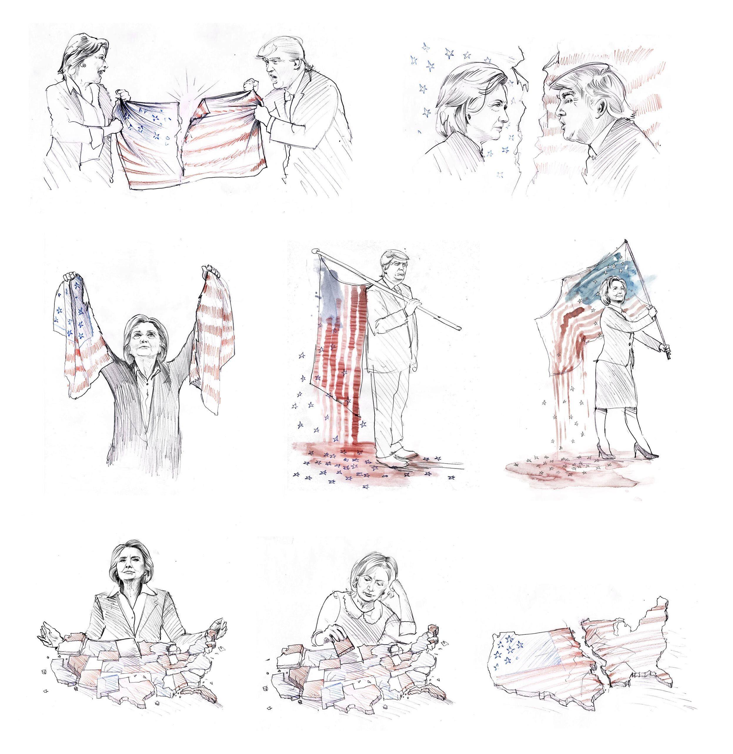 Elections sketches drawing drafts editorial illustration donald trump hilary clinton usa - Kornel Illustration   Kornel Stadler portfolio