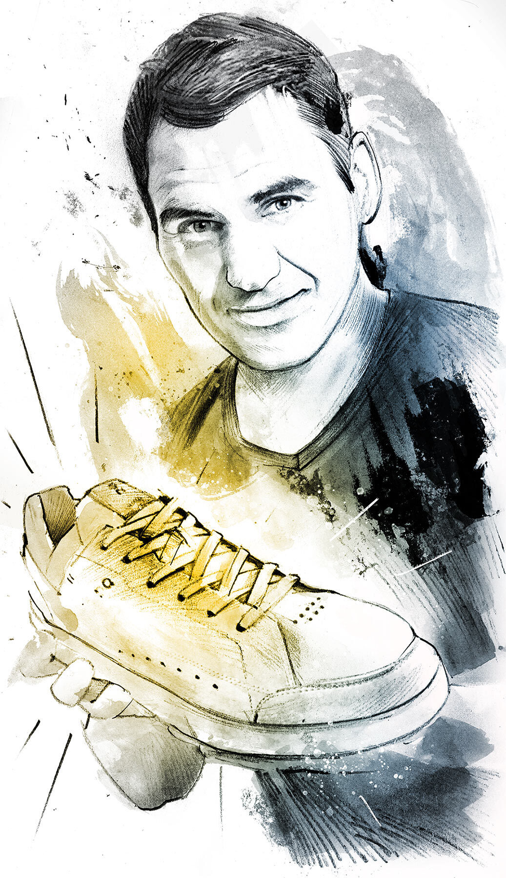 Roger Federer sneaker the roger portrait illustration - Kornel Illustration | Kornel Stadler portfolio
