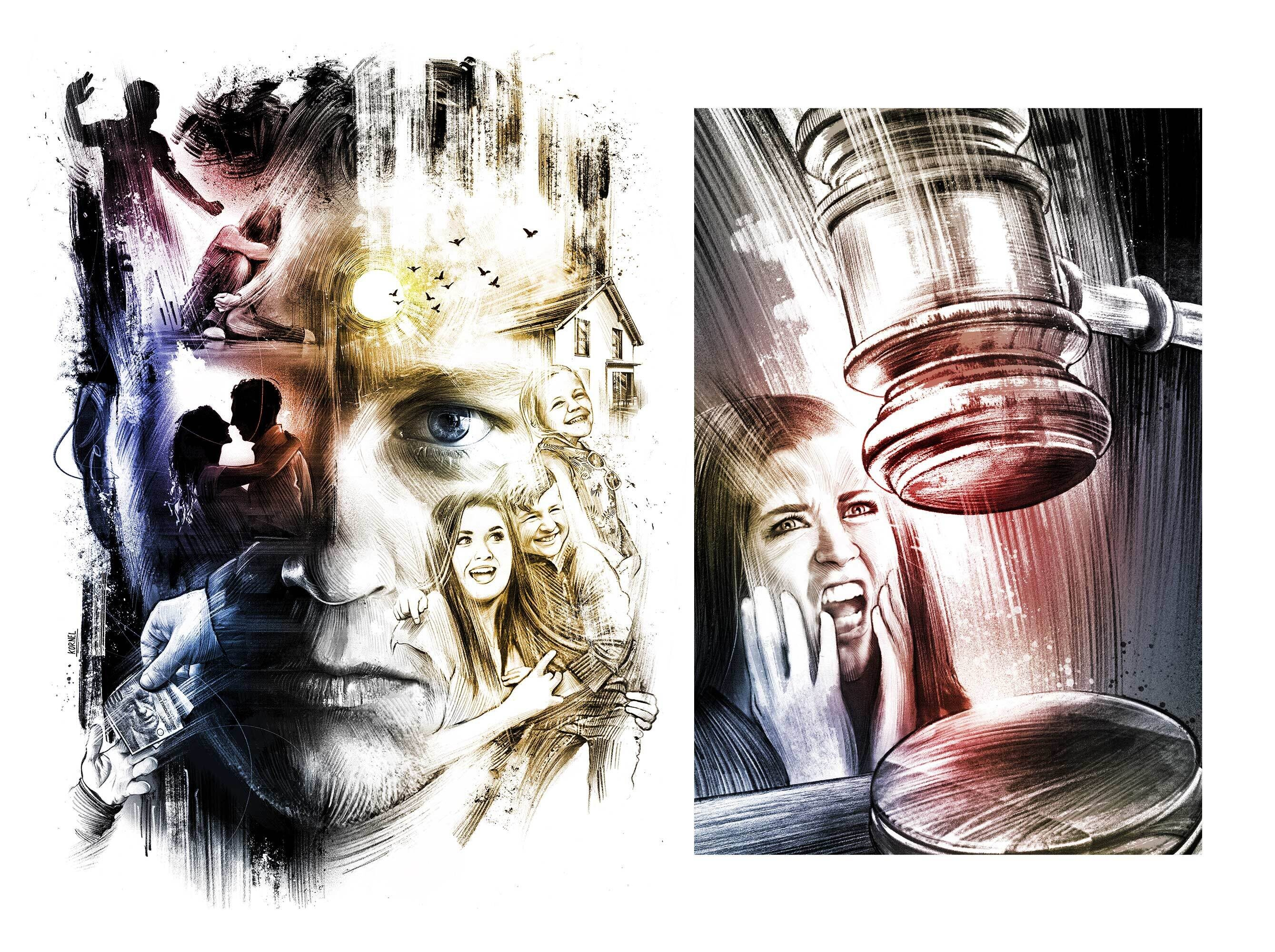Doppelleben Illustration sonnenseite schattenseite - Kornel Illustration | Kornel Stadler portfolio