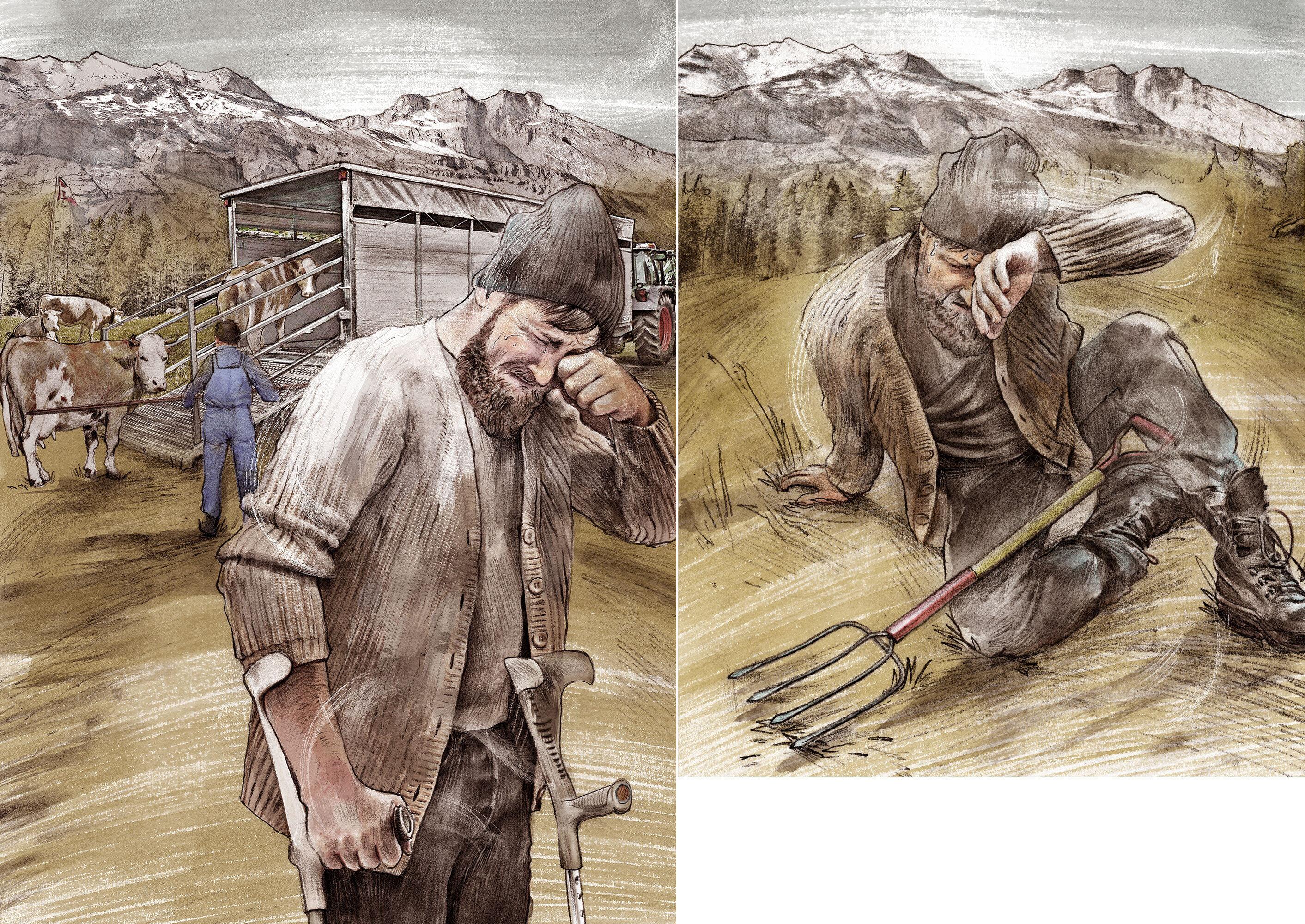 Bauer Kuh erschoepft traurig illustration - Kornel Illustration   Kornel Stadler portfolio