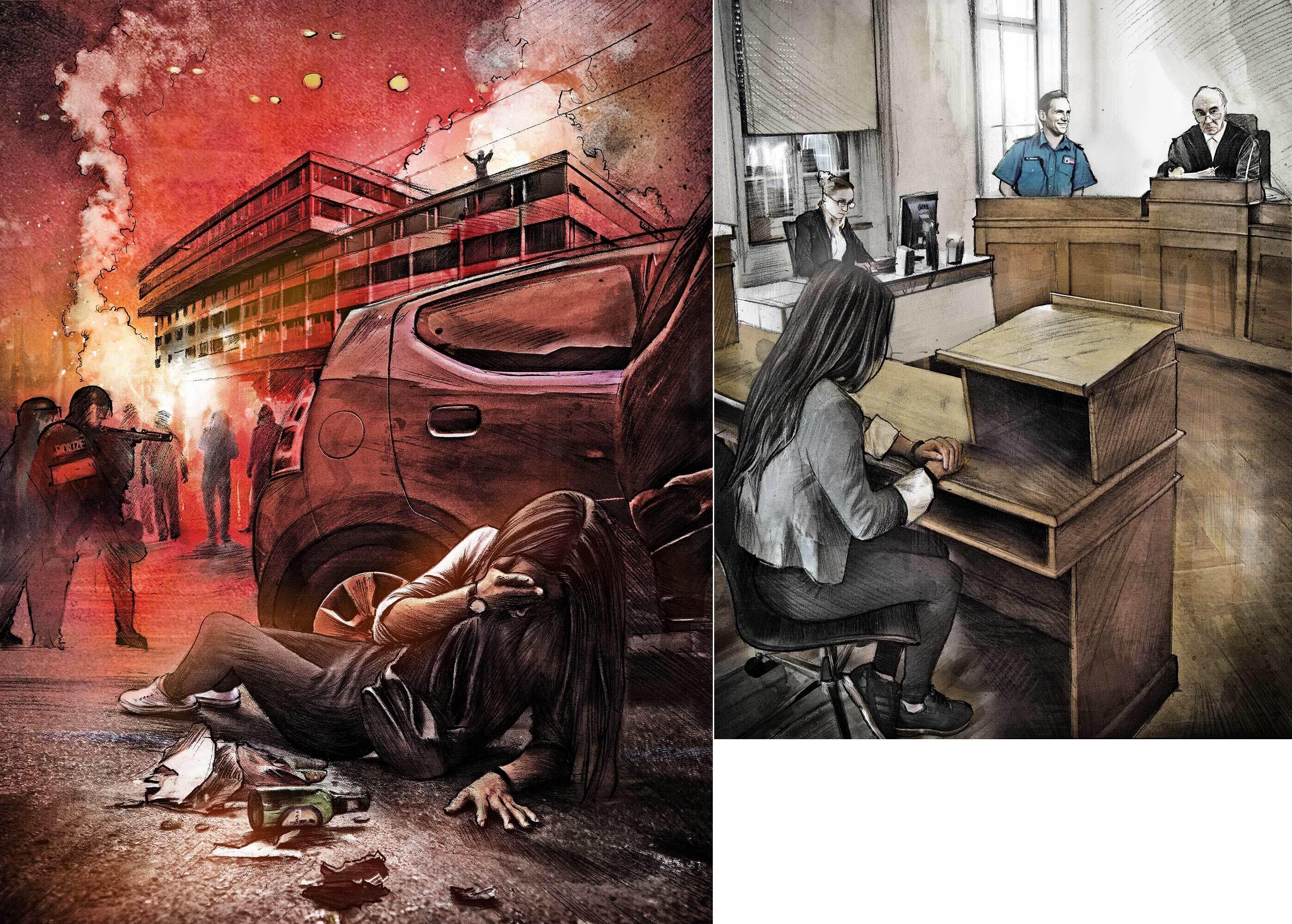 Demo Illustration Gericht Polizei - Kornel Illustration | Kornel Stadler portfolio