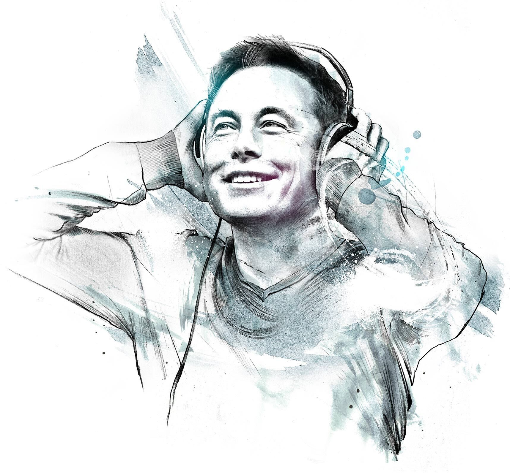 Elon Musk portrait illustration - Kornel Illustration | Kornel Stadler portfolio