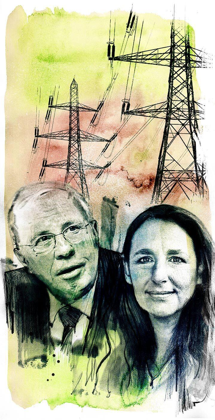 Energiepolitik Schweiz Blocher Jacqueline Badran - Kornel Illustration | Kornel Stadler portfolio
