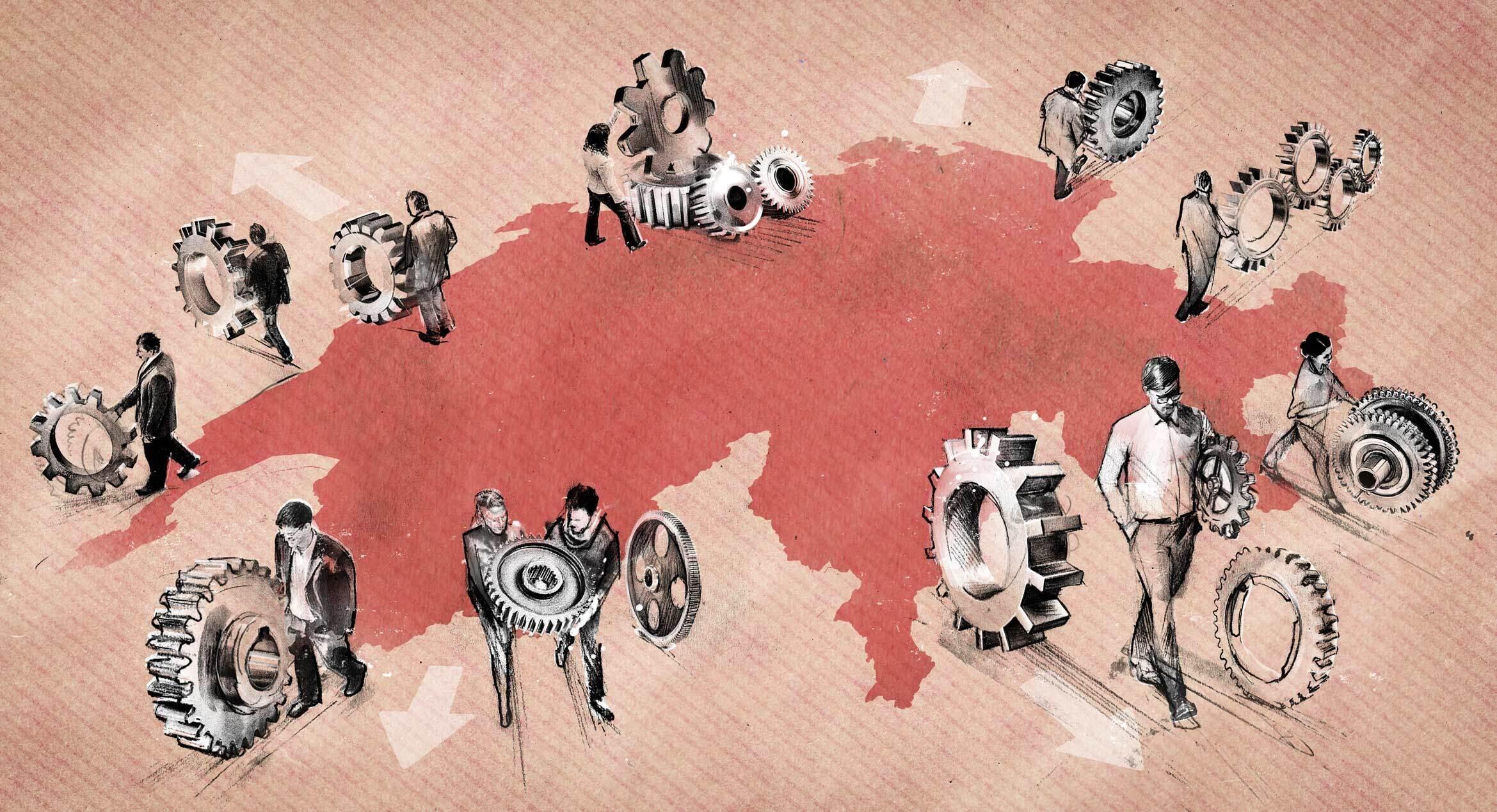 Entindustrialisierung schweiz export editorial illustration - Kornel Illustration | Kornel Stadler portfolio