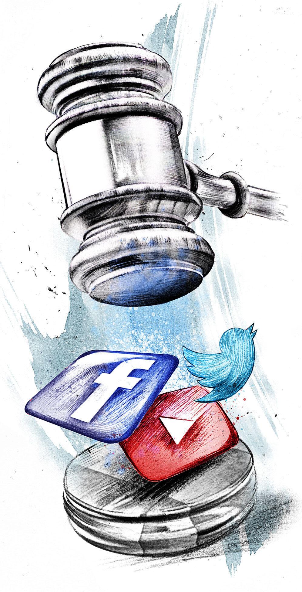 Editorial illustration facebook youtube court - Kornel Illustration | Kornel Stadler portfolio