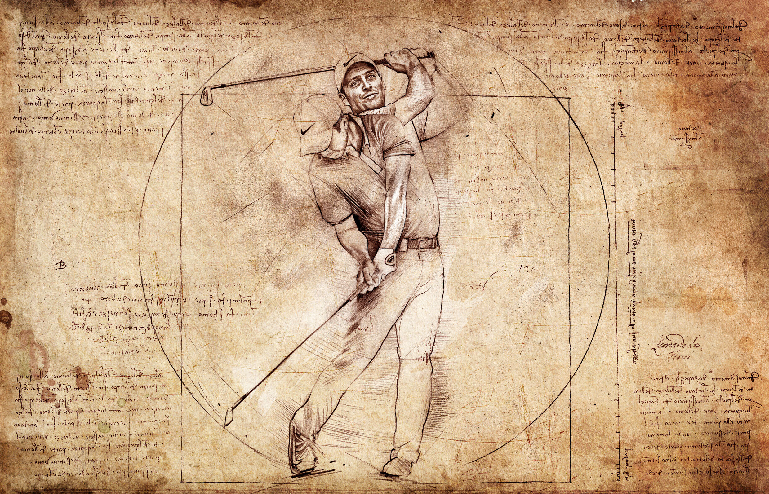 Francesco Molinari Golf leonardo da vinci illustration - Kornel Illustration | Kornel Stadler portfolio