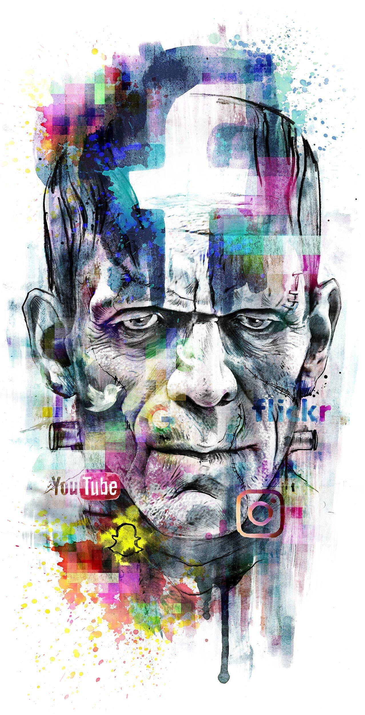 Frankenstein digital monster social network illustration artwork - Kornel Illustration | Kornel Stadler portfolio