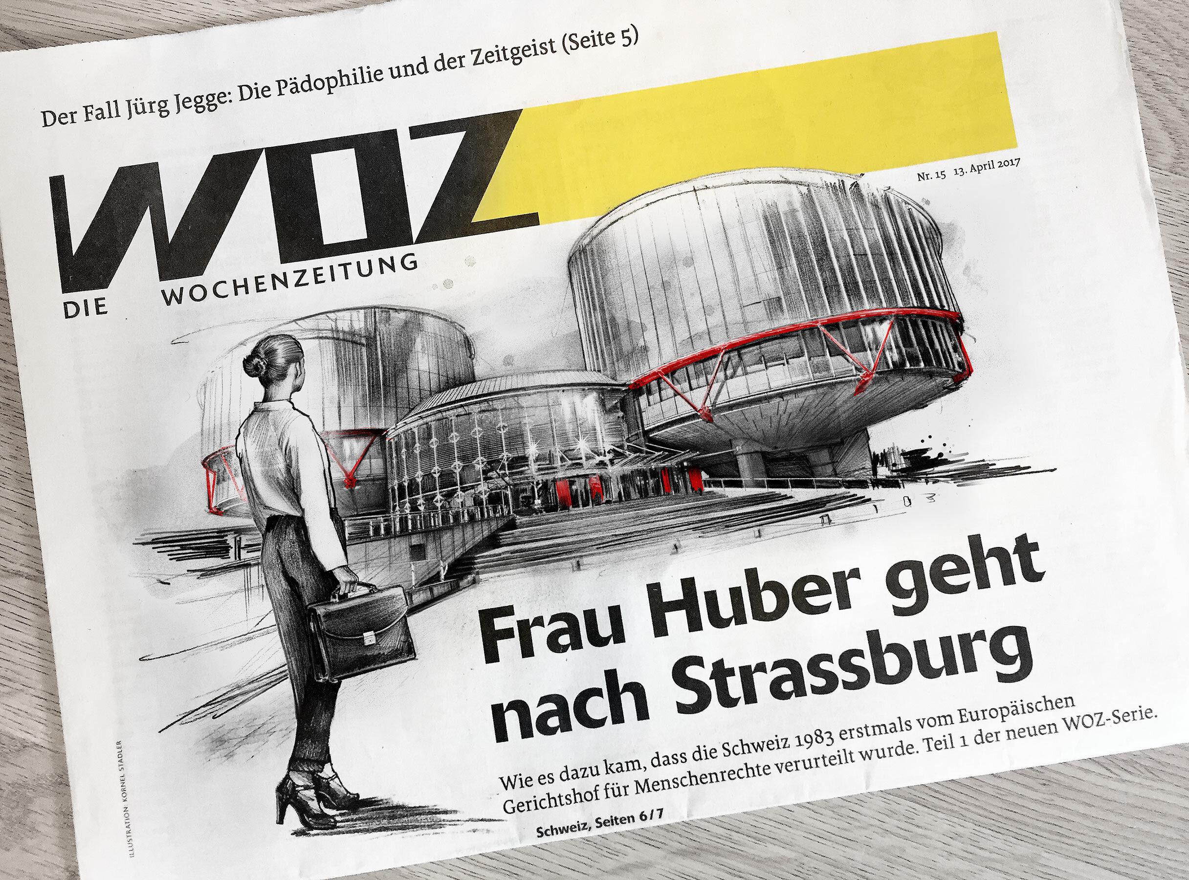 WOZ fron cover ollustration frau huber strassburg intenationaler gerichtshof menschenrechte - Kornel Illustration | Kornel Stadler portfolio