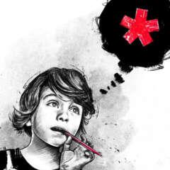 Work Illustration primary school schulbank gender equitable spelling asterisk sternchen conceptual editorial Kornel Illustration | Kornel Stadler