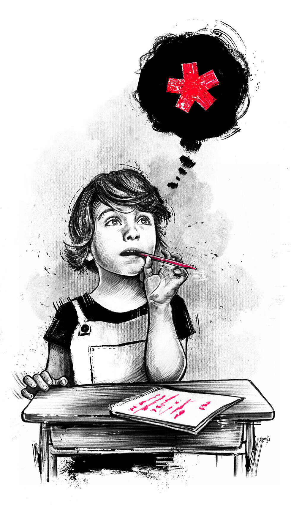 Illustration primary school schulbank gender equitable spelling asterisk sternchen conceptual editorial - Kornel Illustration | Kornel Stadler portfolio