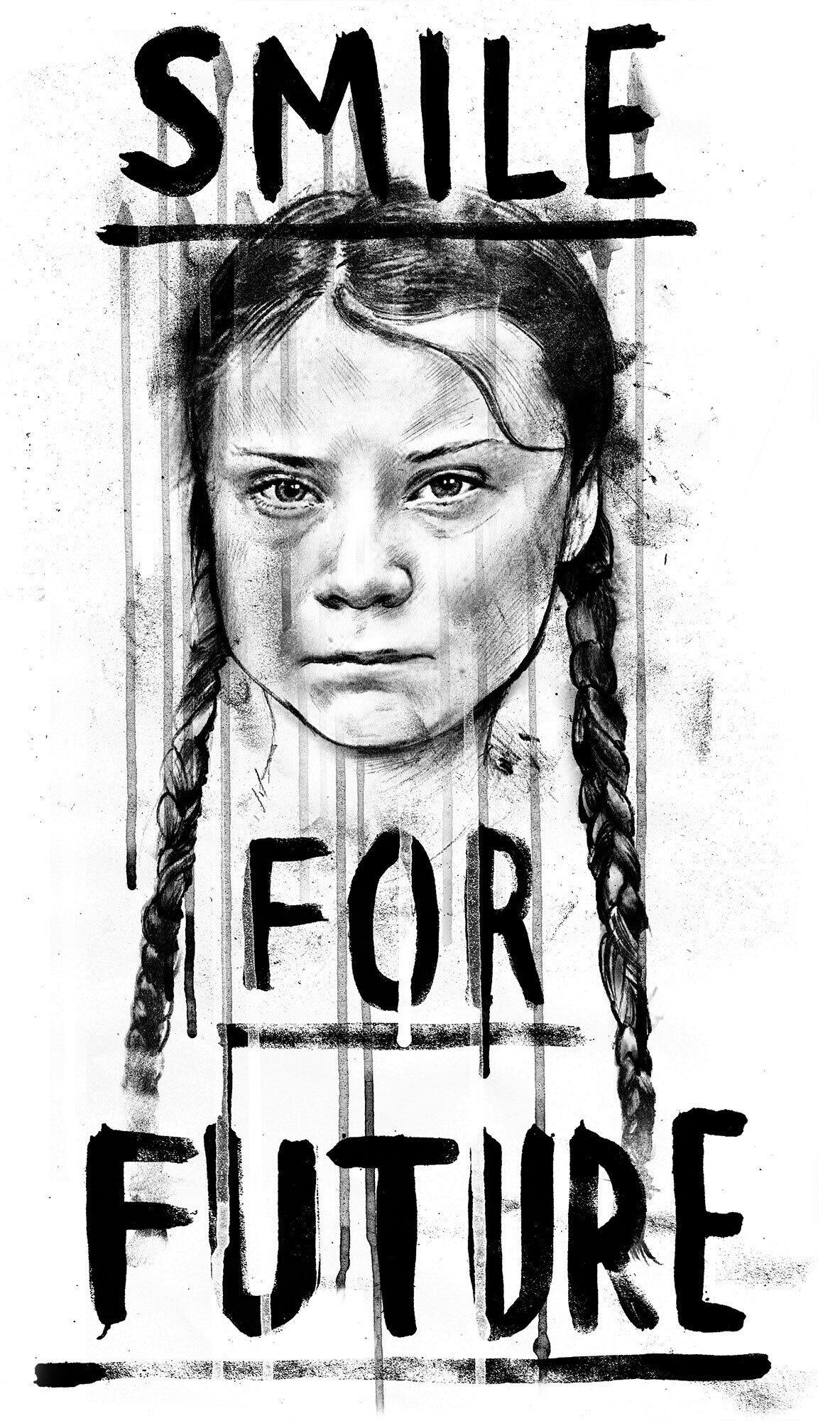 Smile for future greta thunberg illustration - Kornel Illustration | Kornel Stadler portfolio