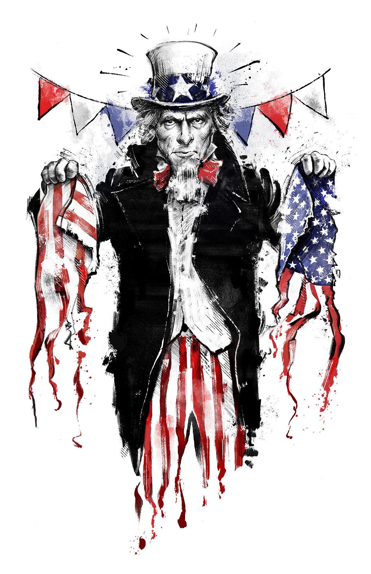 4th of july uncle sam usa independenceday editorial conceptual illustration - Kornel Illustration | Kornel Stadler portfolio