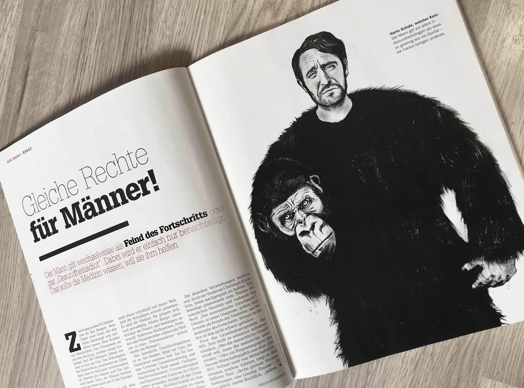 Editorial magazine illustration man ape masculine maskulin - Kornel Illustration | Kornel Stadler portfolio