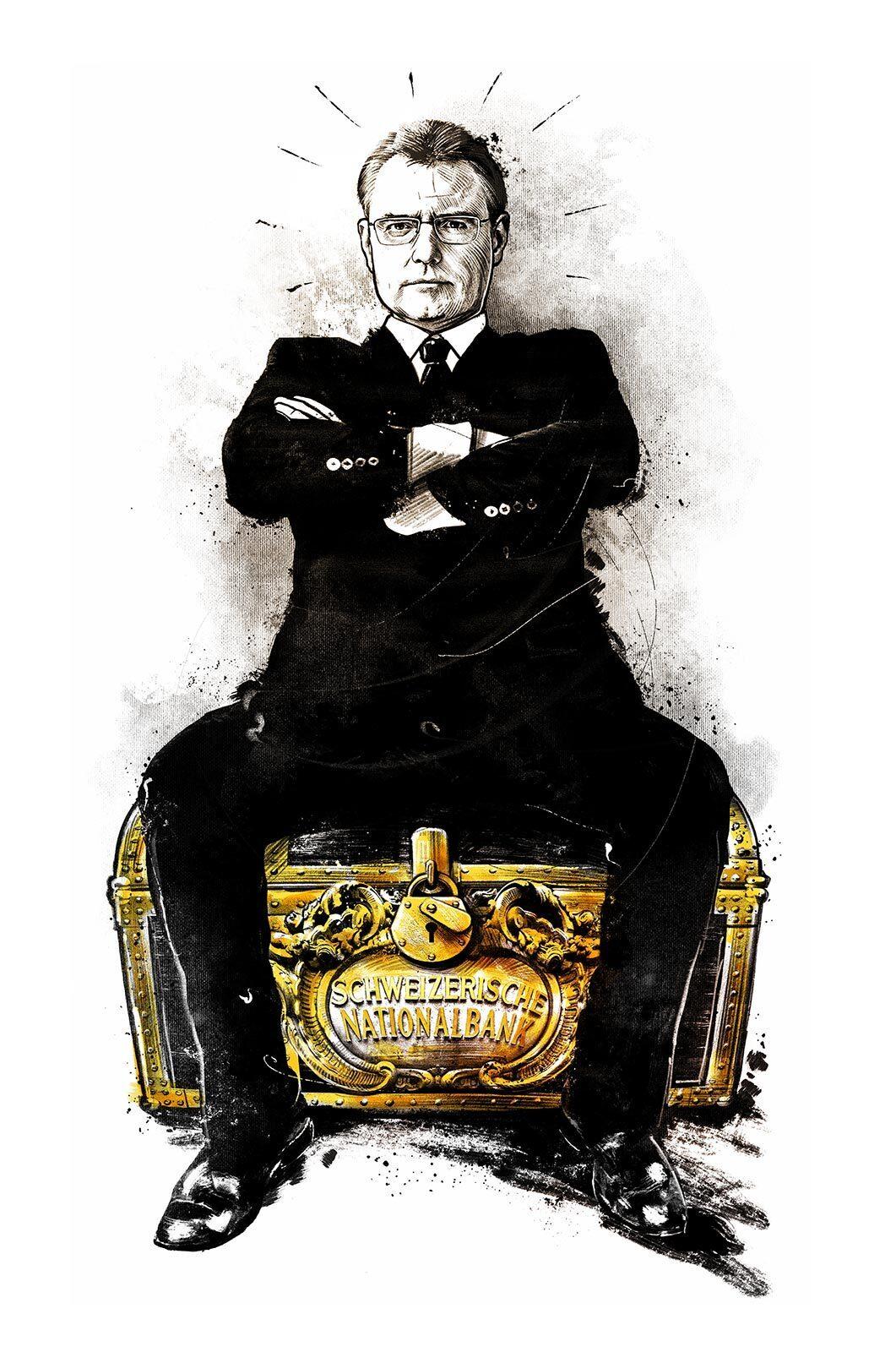 Illustration schweizer nationalbank SNB Praesident Thomas Jordan schatz tresor - Kornel Illustration | Kornel Stadler portfolio